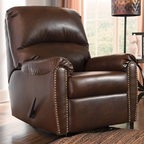 Signature Design by Ashley Lottie DuraBlend® Transitional Bonded Leather Match Rocker Recliner with Nailhead Trim