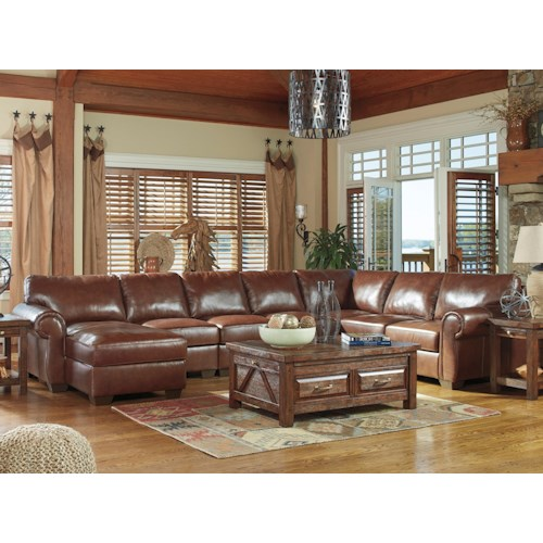 Signature Design By Ashley Lugoro Leather Match 5 Piece Sectional With Left Chaise Knight
