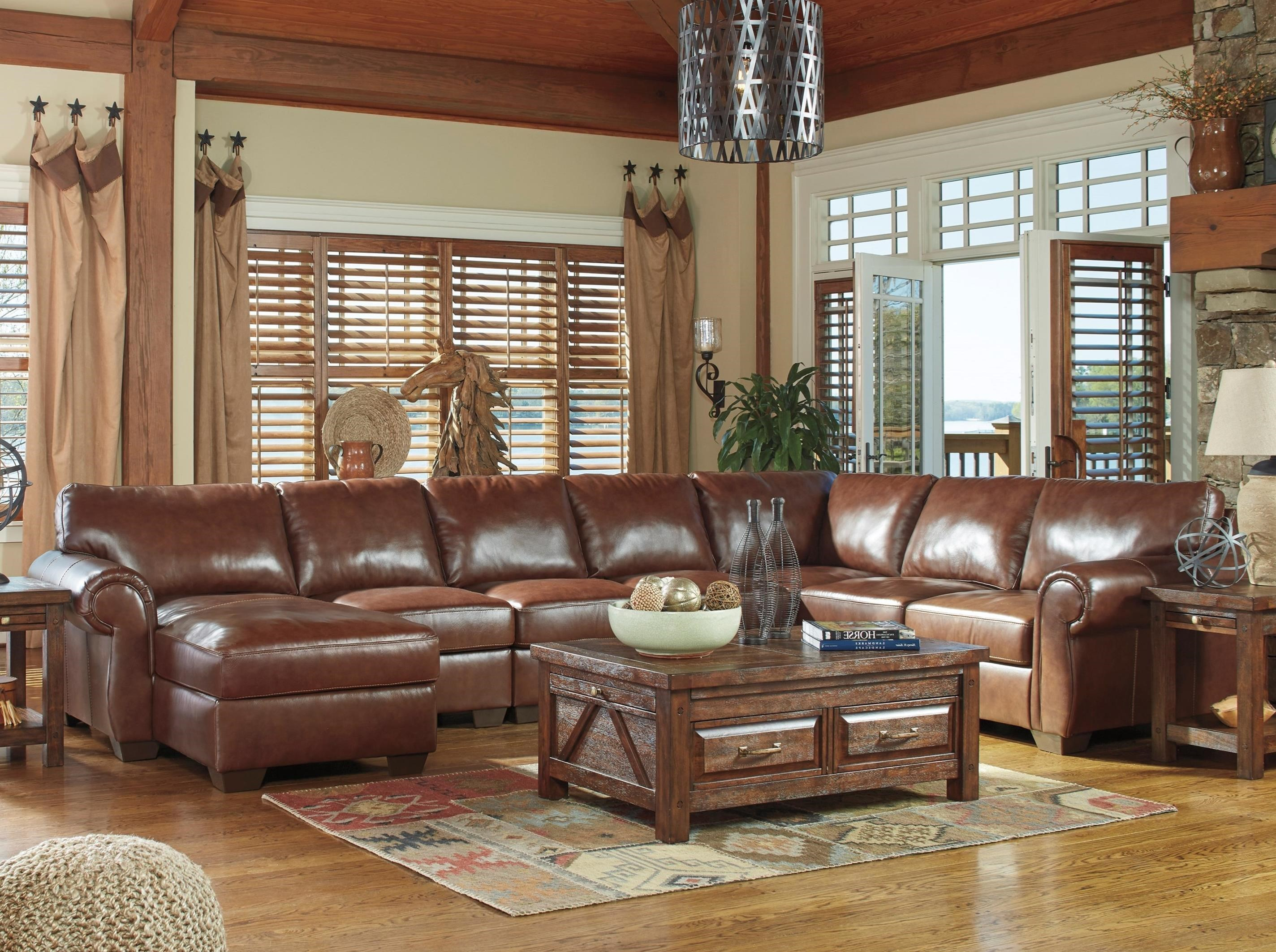 Signature Design by Ashley Lugoro Leather Match 5-Piece Sectional with Left Chaise  sc 1 st  Value City Furniture : ashley sofa sectional - Sectionals, Sofas & Couches