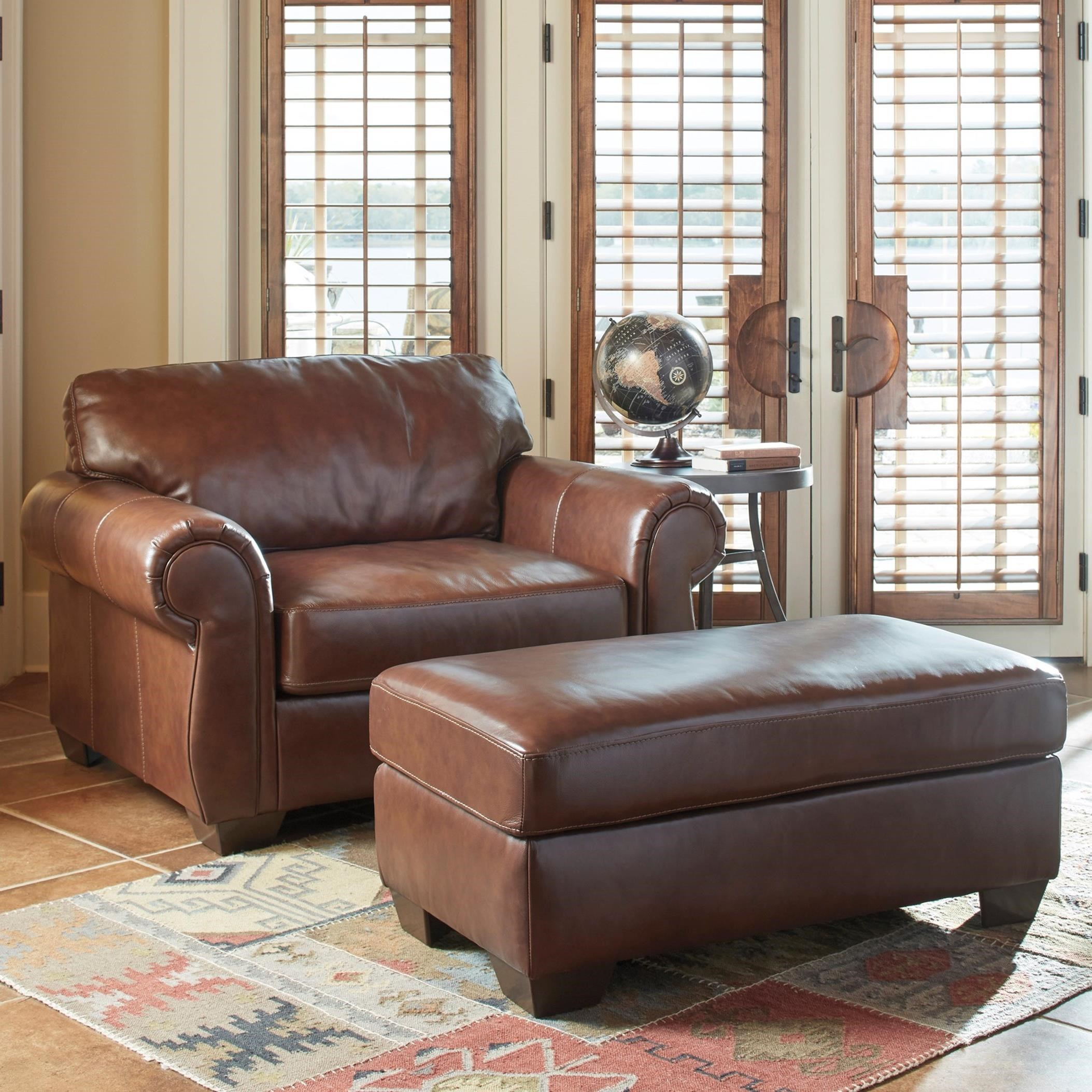 Elegant Signature Design By Ashley Lugoro Leather Match Chair And A Half U0026 Ottoman