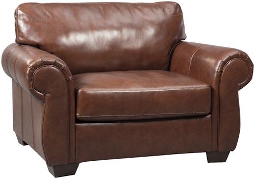 Signature Design by Ashley Lugoro Leather Match Chair and a Half
