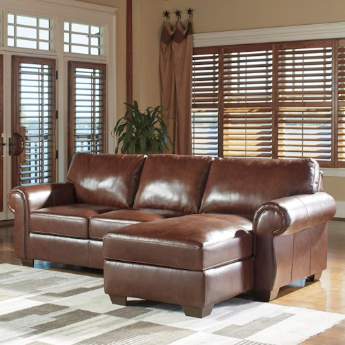 Lugoro Leather Match 2 Piece Sectional With Right Chaise By Signature Design By Ashley