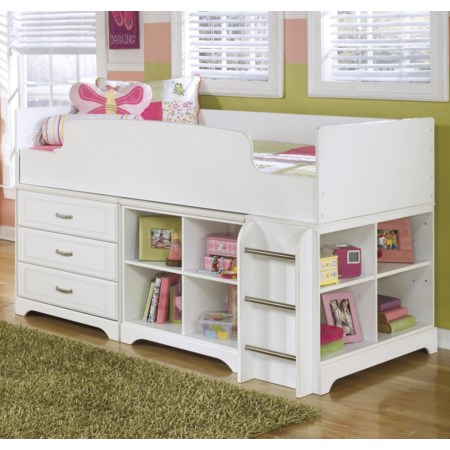 Twin Loft Bed w/ Loft Drawer & Bin Storage