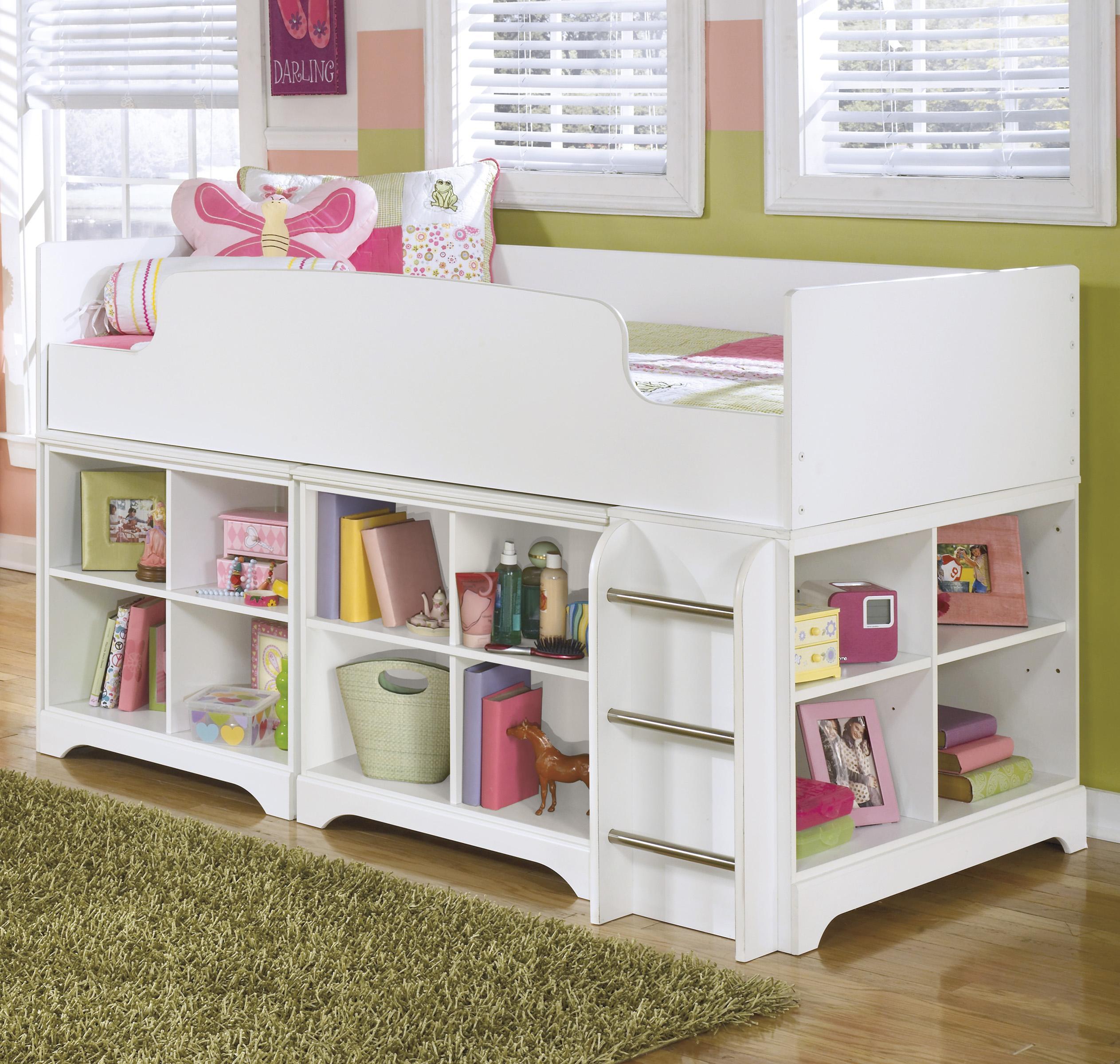 Lulu Twin Loft Bed With Loft Bin Storage By Ashley Signature Design
