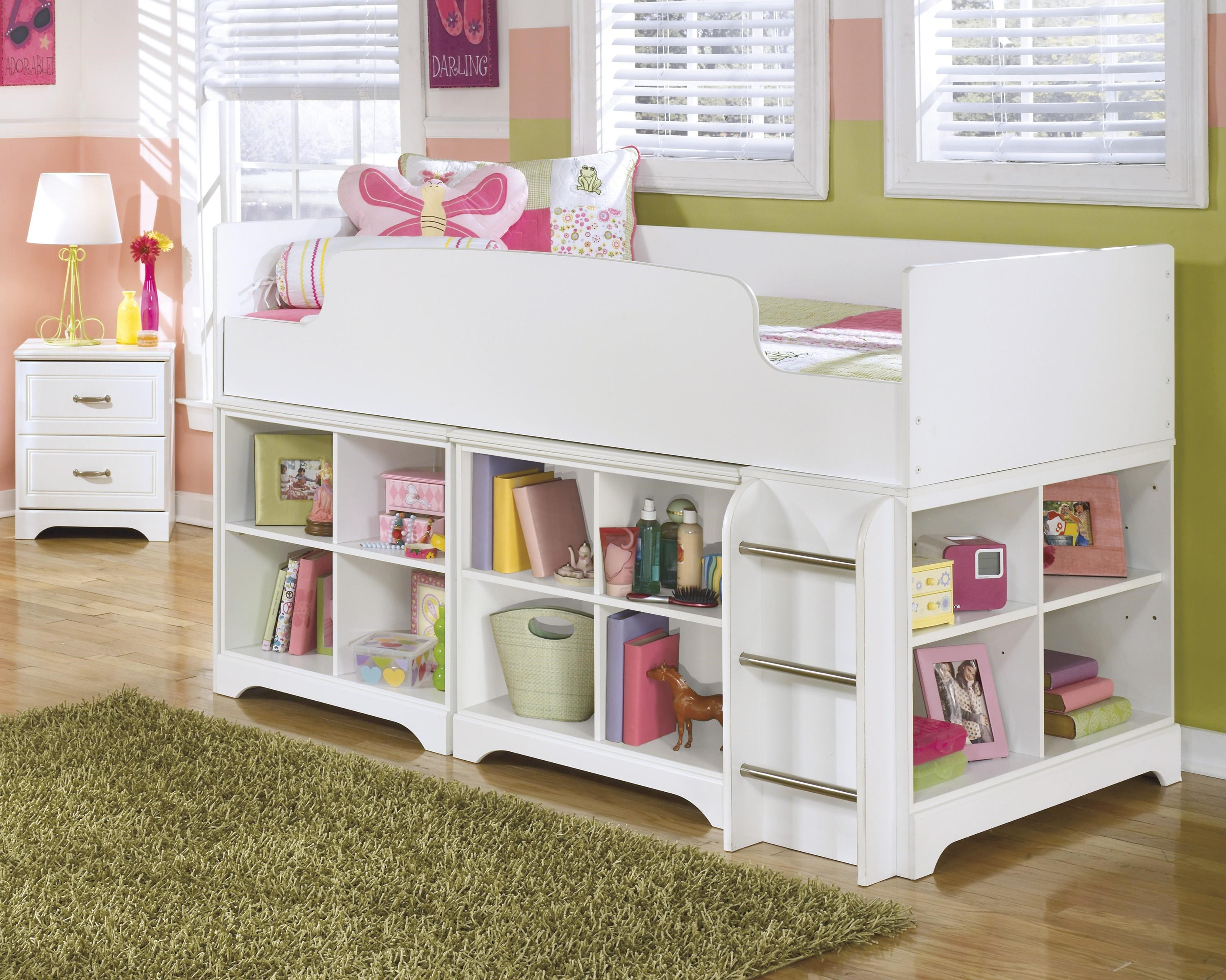 ... Signature Design By Ashley LuluTwin Loft Bed With Loft Bin Storage