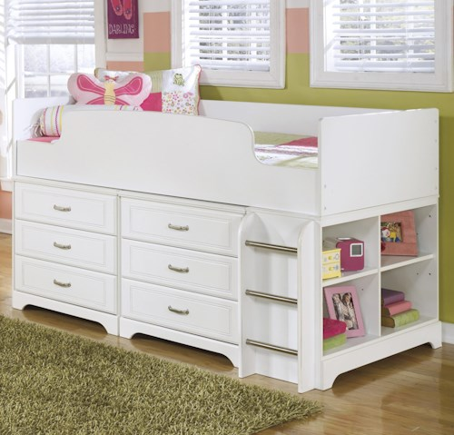 Signature Design by Ashley Lulu Twin Loft Bed w/ Loft Drawer Storage