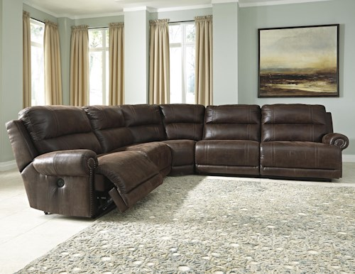 Signature Design by Ashley Luttrell 5-Piece Faux Leather Reclining Sectional with Armless Recliners