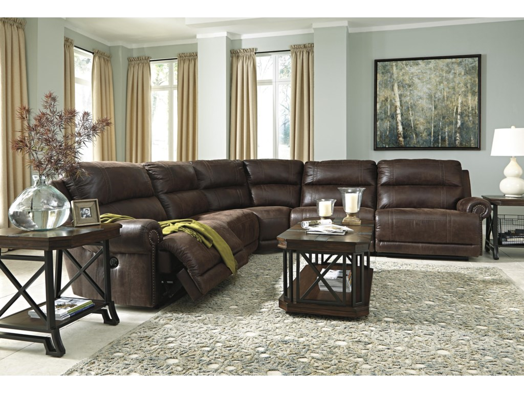 Signature Design by Ashley Luttrell5-Piece Reclining Sectional