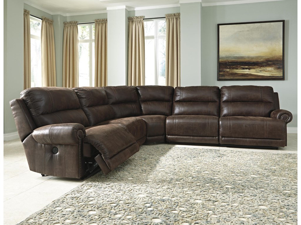 Luttrell 5-Piece Faux Leather Reclining Sectional by Signature Design by  Ashley at Wayside Furniture