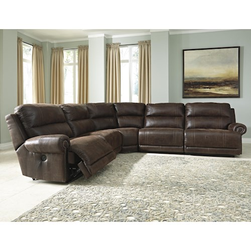 Signature Design by Ashley Luttrell 5-Piece Faux Leather Reclining Sectional