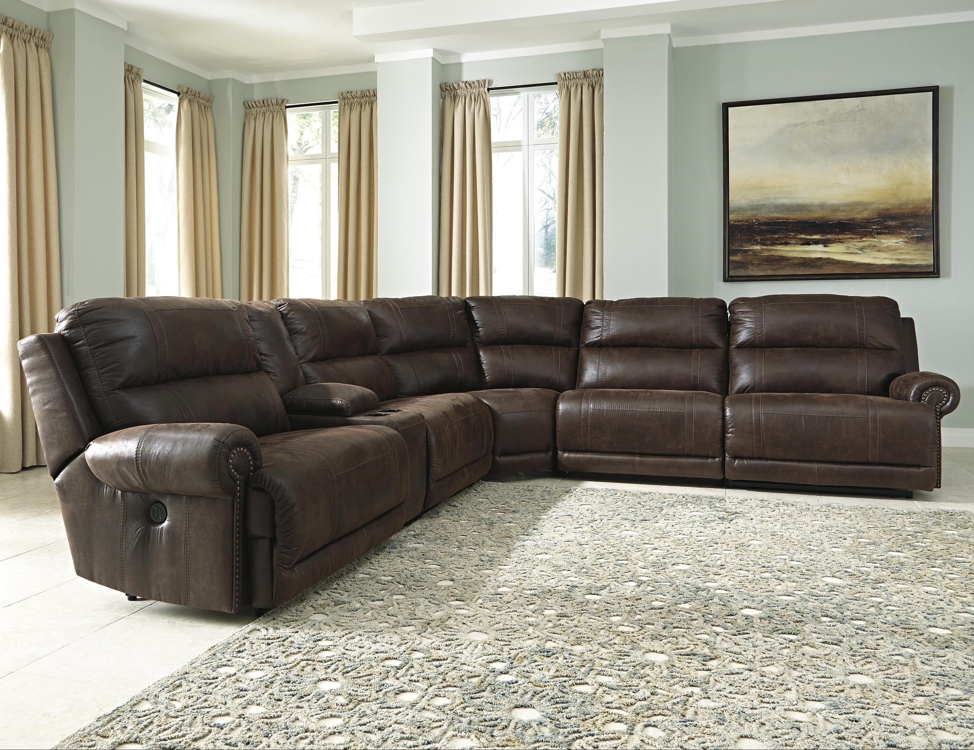 styleline luttrell 6piece reclining sectional with console