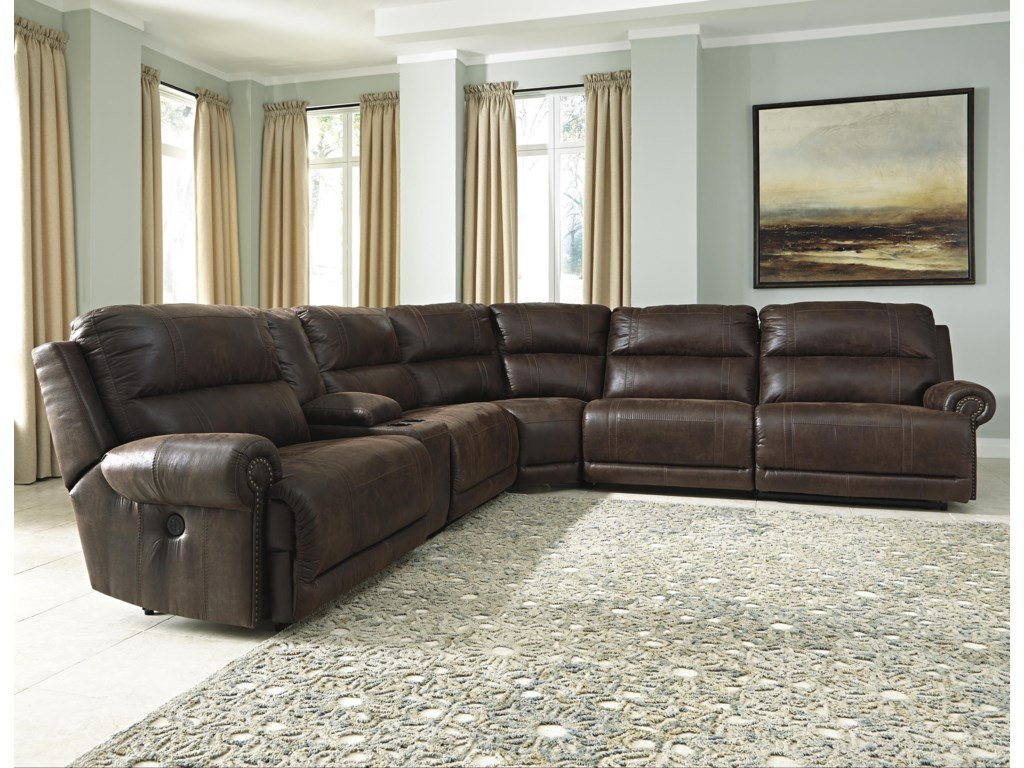 Signature Design By Ashley Luttrell 6 Piece Reclining Sectional With