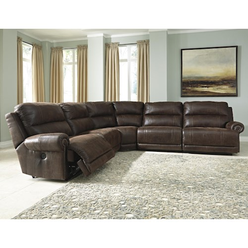 Signature Design by Ashley Luttrell 5-Piece Faux Leather Power Reclining Sectional with Armless Recliners
