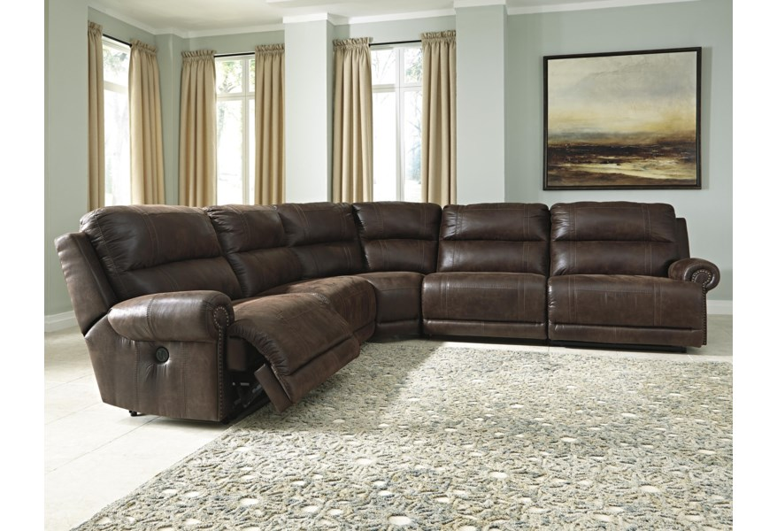 Luttrell 5-Piece Faux Leather Power Reclining Sectional by Signature Design  by Ashley at Houston\'s Yuma Furniture