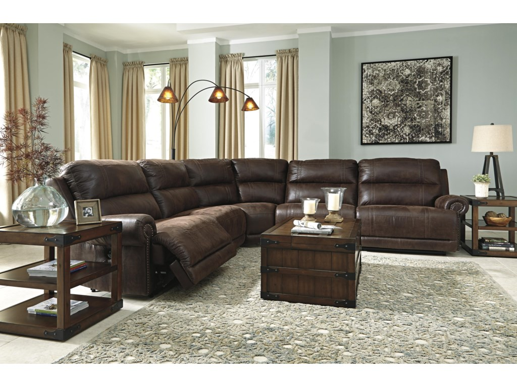 Ashley (Signature Design) Luttrell5-Piece Power Reclining Sectional