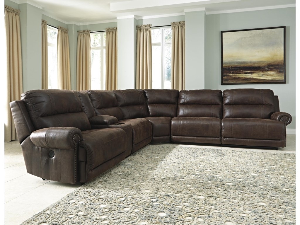 Luttrell 6-Piece Power Reclining Sectional with Console by Signature Design  by Ashley at Miskelly Furniture