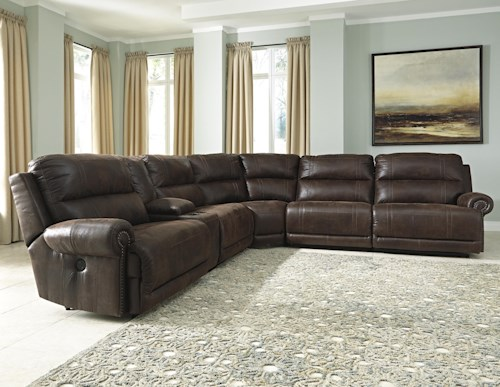 Signature Design by Ashley Luttrell 6-Piece Power Reclining Sectional with Console