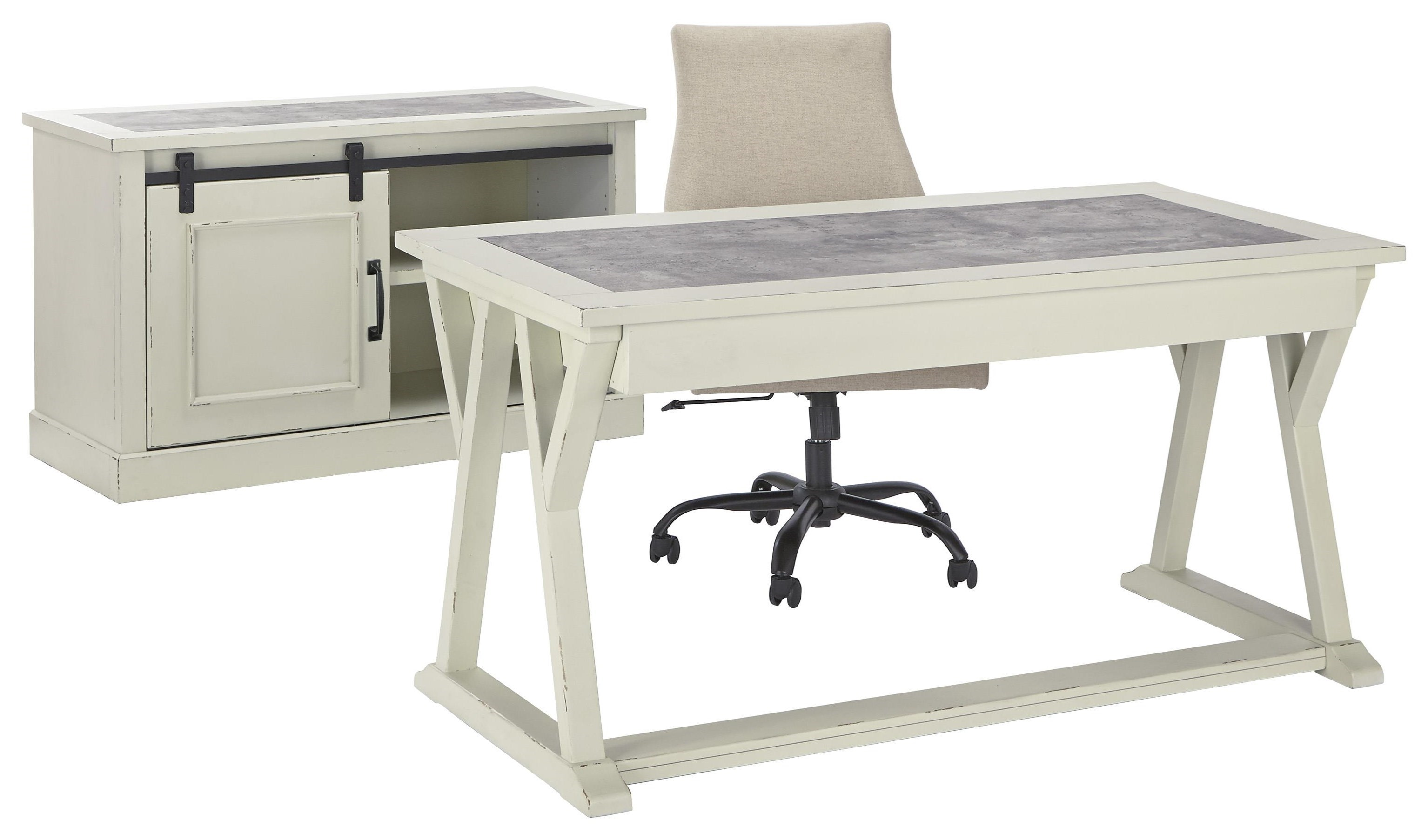 Signature Design By Ashley Jonileene H642 44 40 H200 07 Home Office Desk Office Chair And Cabinet Set Sam Levitz Furniture Office Groups