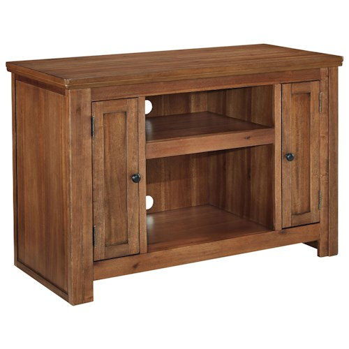 Signature Design by Ashley Macibery Acacia Veneer TV Stand with 2 Doors and Adjustable Shelves