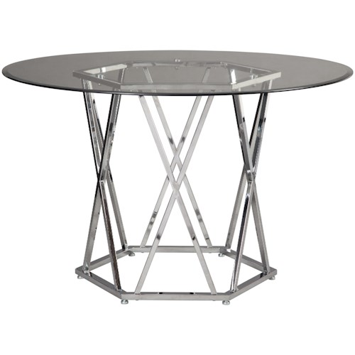 Signature Design by Ashley Madanere  Contemporary Round Dining Room Table with Glass Top