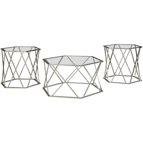 Signature Design by Ashley Madanere Contemporary Metal & Glass Occasional Table Set