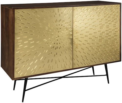 Signature Design by Ashley Majaci Accent Chest with Sunburst Brass Metal Doors