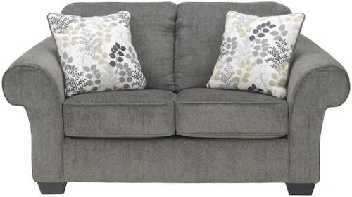 Signature Design by Ashley Makonnen - Charcoal Loveseat with Large Rolled Arms and Coil Seating