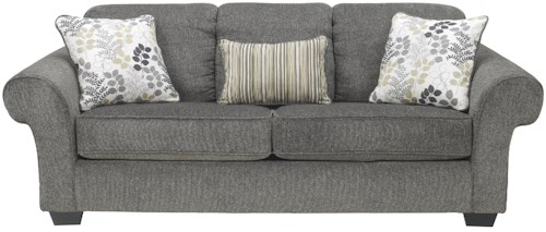 Signature Design by Ashley Makonnen - Charcoal Sofa with Large Rolled Arms and 2 Seat Cushions