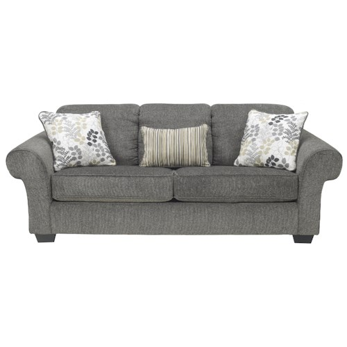 Signature Design by Ashley Makonnen - Charcoal Queen Sofa Sleeper with Large Rolled Arms and 2 Seat Cushions