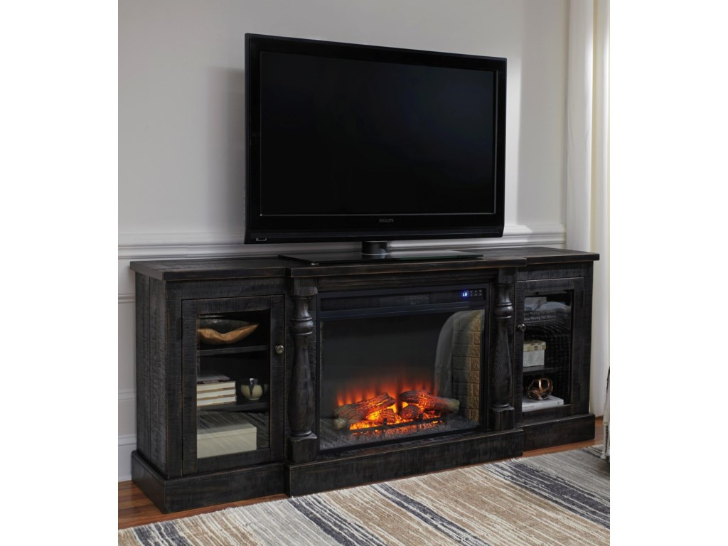 Signature Design by Ashley MallacarXL TV Stand with Electric Fireplace Insert
