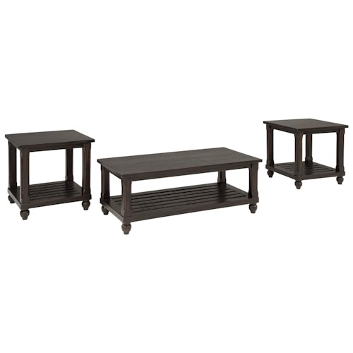 Signature Design by Ashley Mallacar 3-Piece Occasional Table Set in Black Vintage Finish
