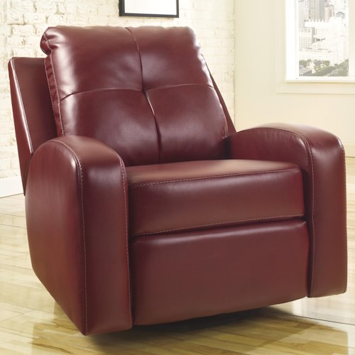Signature Design by Ashley Mannix DuraBlend - Red Contemporary Swivel Glider Recliner