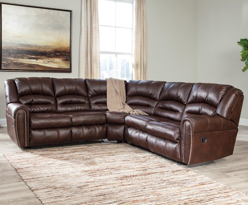 Signature Design by Ashley Manzanola Reclining Sectional with Nailhead Trim