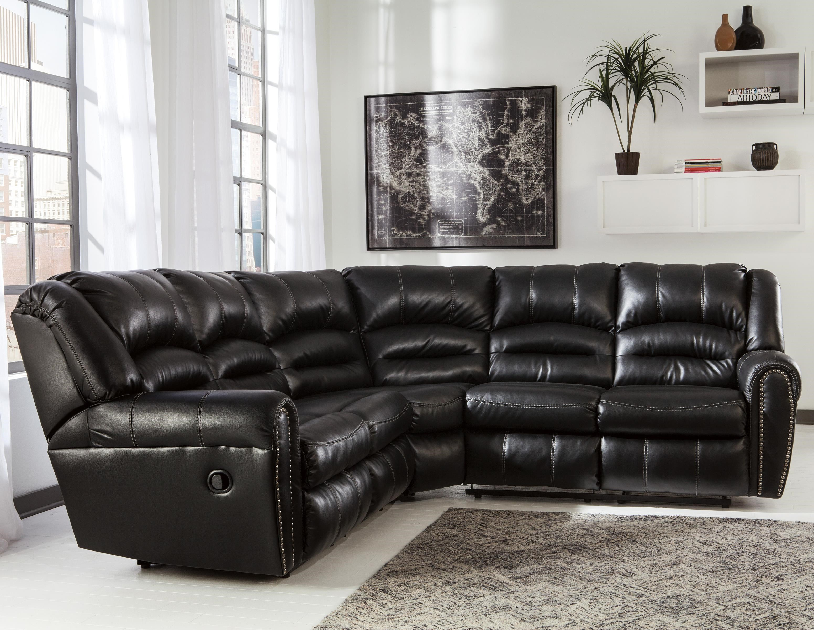 Signature Design by Ashley Manzanola Reclining Sectional with Nailhead Trim - Becker Furniture World - Reclining Sectional Sofa & Signature Design by Ashley Manzanola Reclining Sectional with ... islam-shia.org