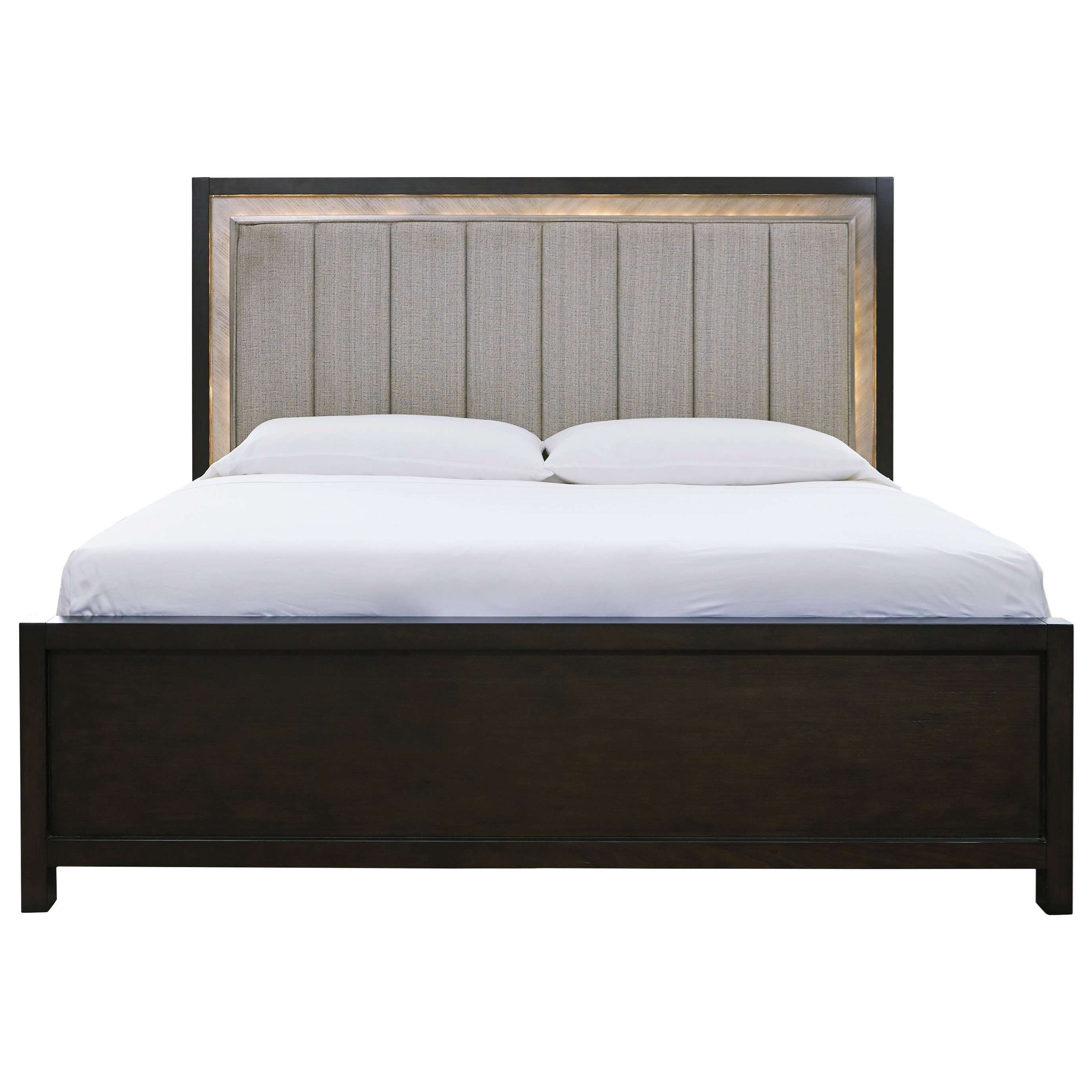 Contemporary King Upholstered Bed with LED Back Light