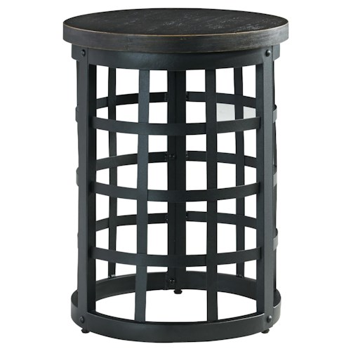 Signature Design by Ashley Marimon Round End Table with Industrial Style Metal Base