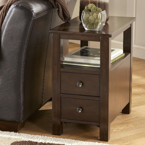 Signature Design by Ashley Marion Chairside Cabinet Table with Shelf and 2 Drawers
