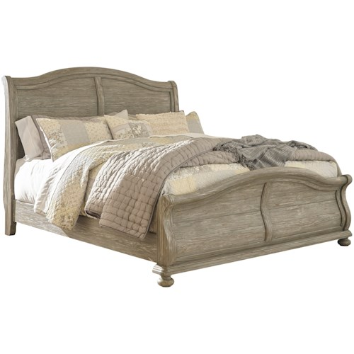 Signature Design by Ashley Marleny Cottage Style Queen Sleigh Bed in Rustic Gray Finish