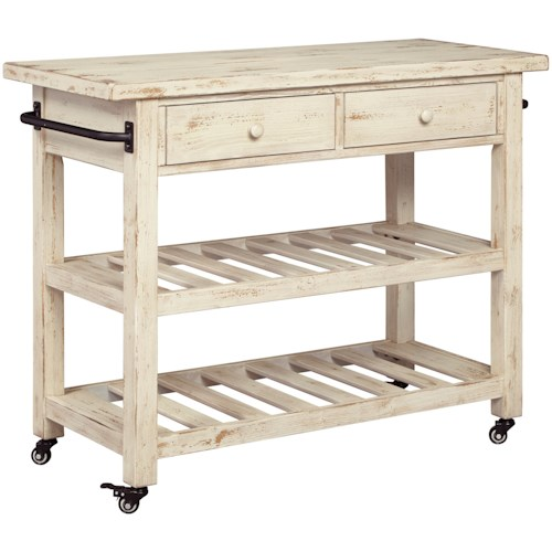 Signature Design by Ashley Marlijo Distressed White Finish Kitchen Cart with Locking Casters