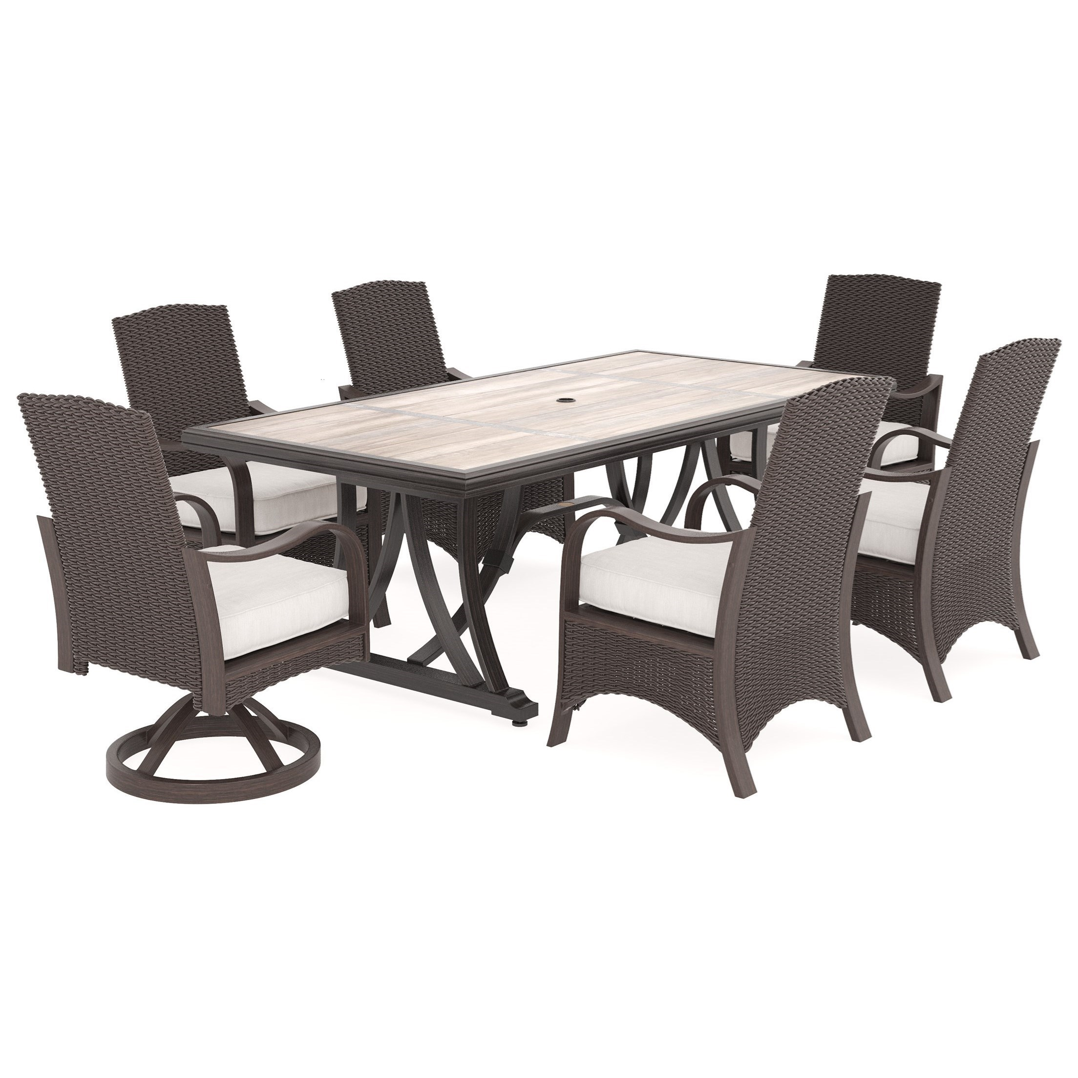 Attrayant Signature Design By Ashley Marsh Creek7 Piece Outdoor Dining Set ...