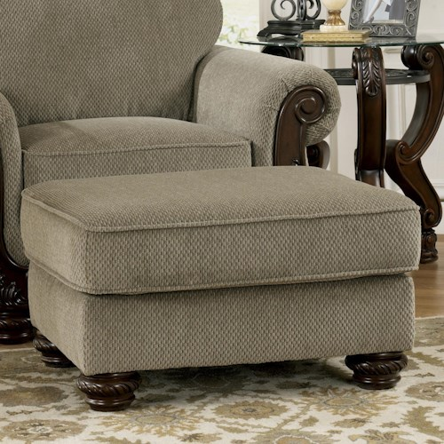 Signature Design by Ashley Martinsburg - Meadow Traditional Ottoman with Carved Bun Wood Feet