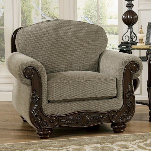Signature Design by Ashley Martinsburg - Meadow Traditional Upholstered Chair with Carved Wood Trim