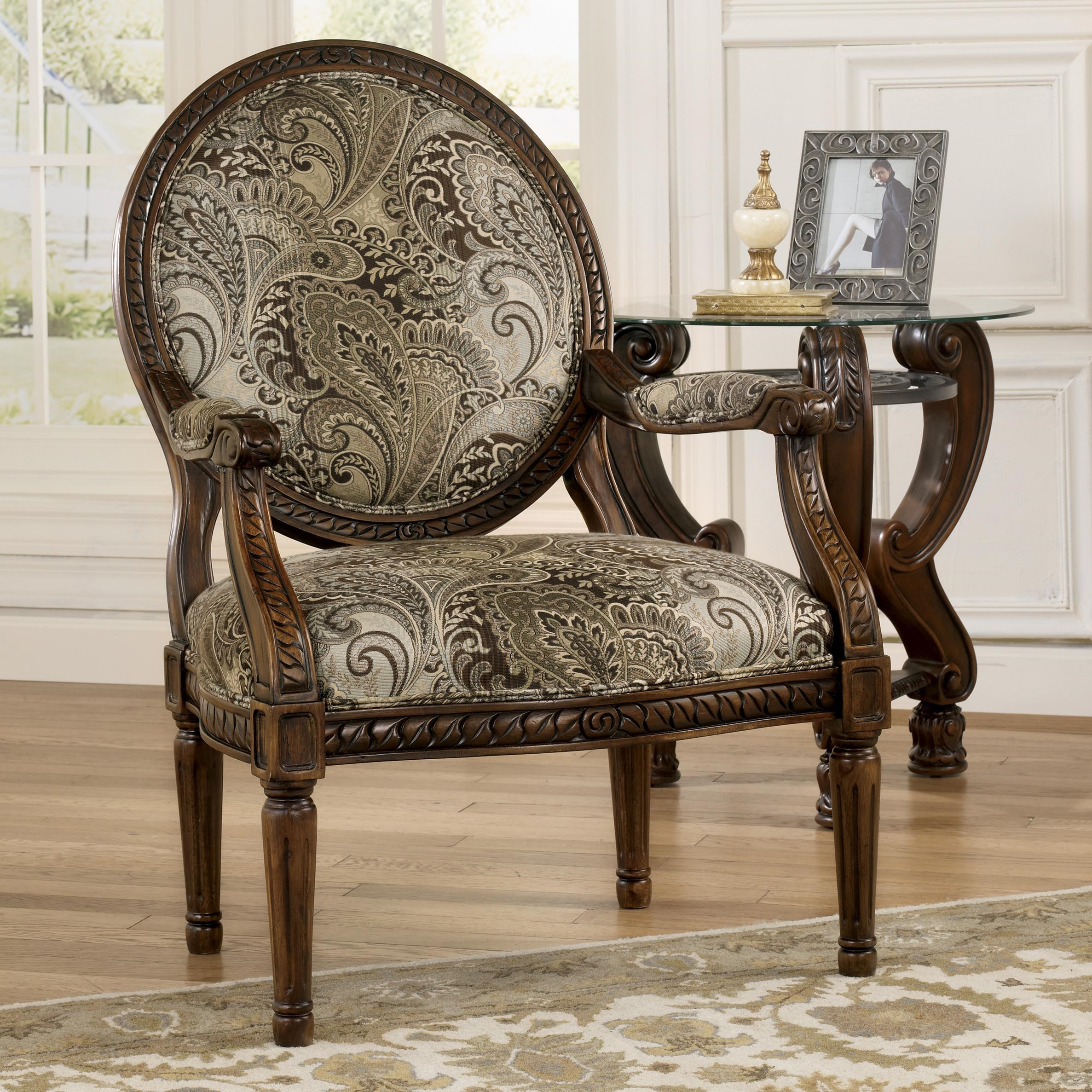 Signature Design By Ashley Martinsburg Traditional Showood Accent Chair  With Carved Wood Frame