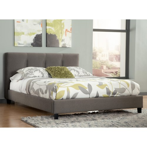 Signature Design by Ashley Masterton King Upholstered Platform Bed with Channel Tufted Headboard