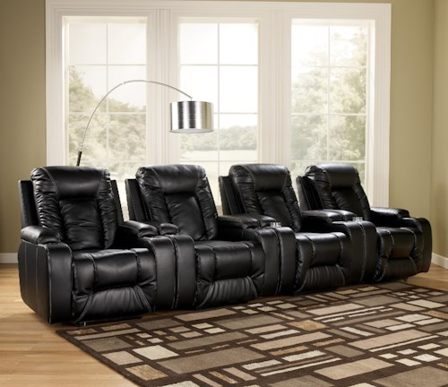 Signature Design by Ashley Matinee DuraBlend® - Eclipse Contemporary 4 Piece Theater Seating Group