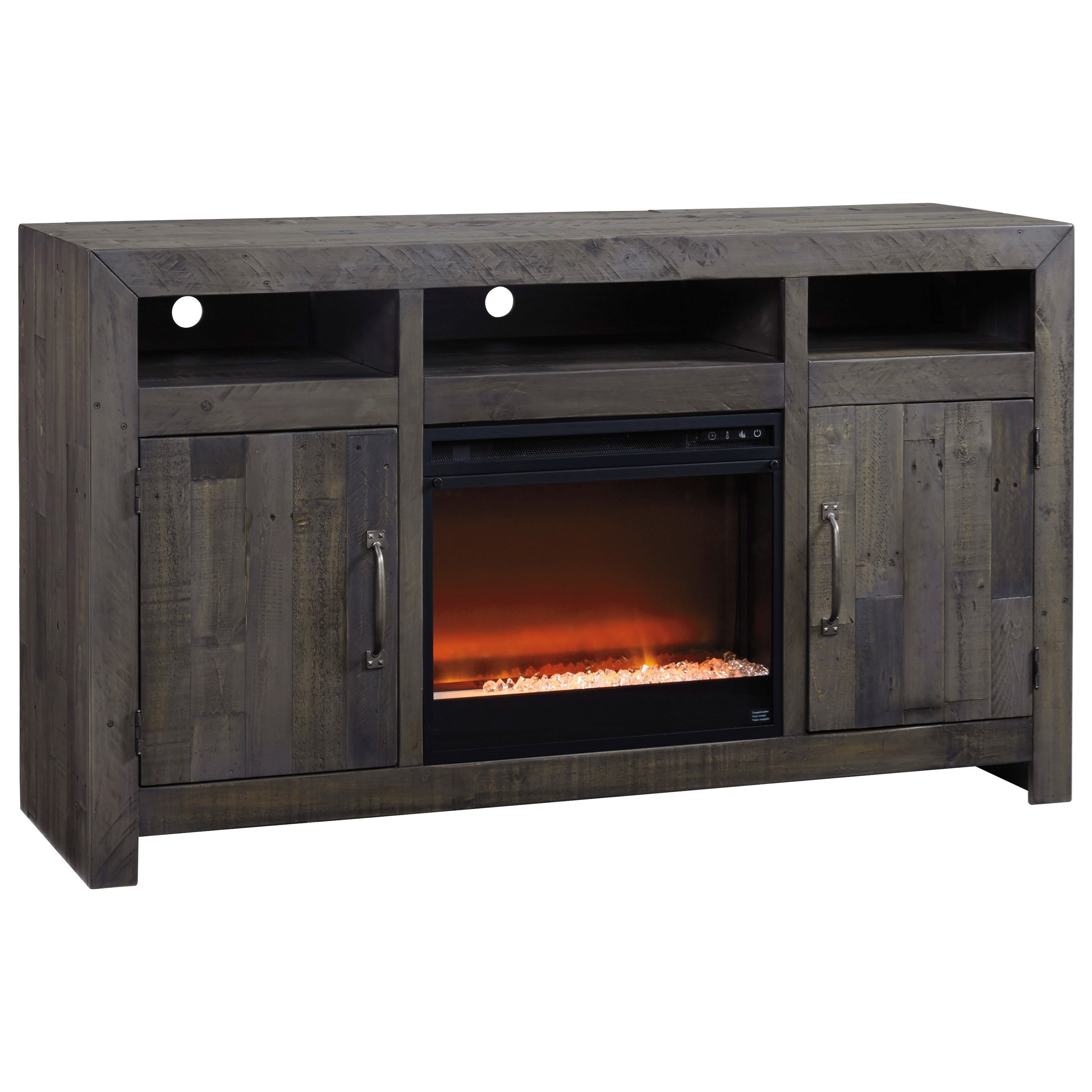 Mayflyn Large Tv Stand With Fireplace Insert