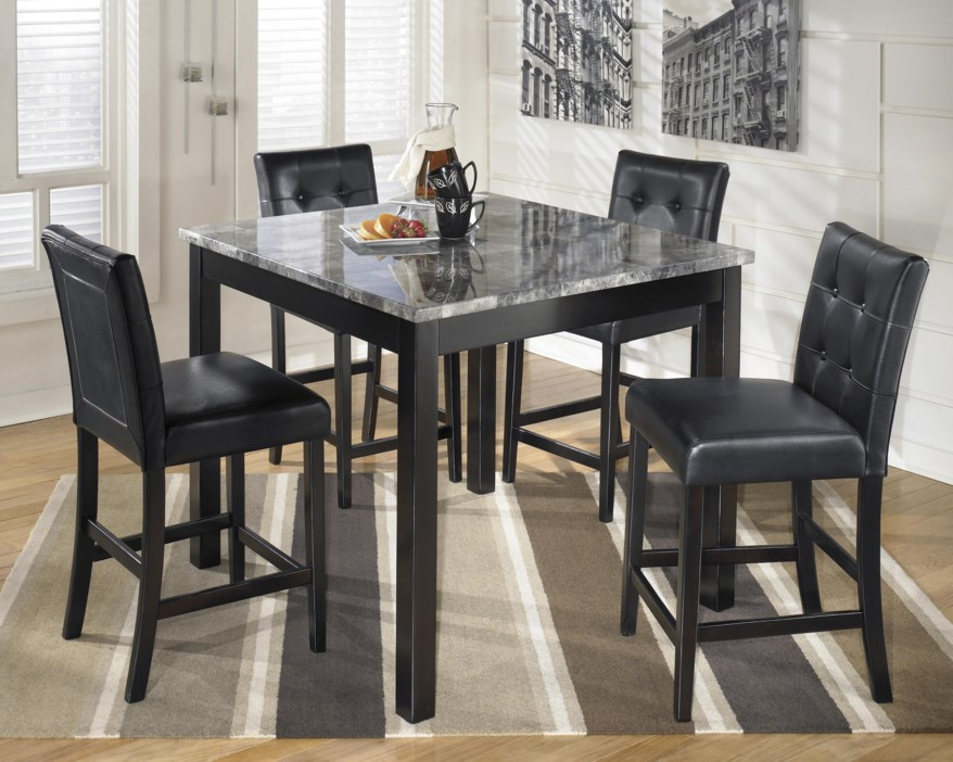 5pc Faux Marble Dining Table Set 2