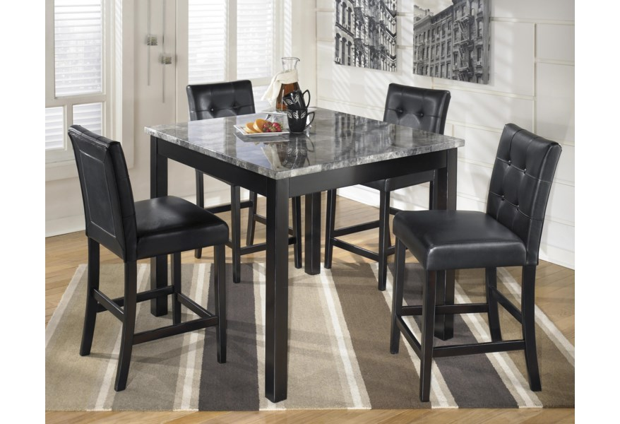 Signature Design By Ashley Maysville 5 Piece Square Counter Table Set With Faux Marble Top Reid S Furniture Pub Table And Stool Sets