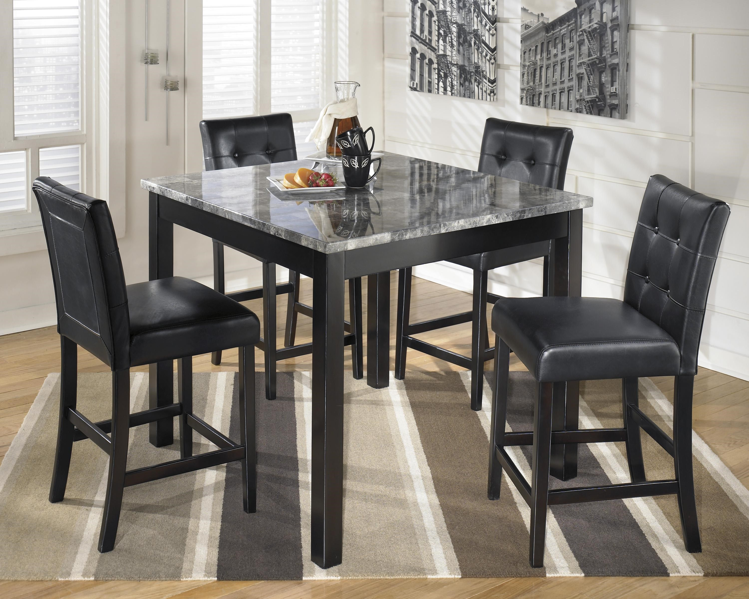 Charming Signature Design By Ashley Maysville 5 Piece Square Counter Table Set With  Faux Marble Top