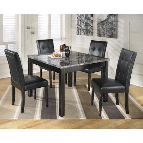 Signature Design By Ashley Maysville 5 Piece Square Dining Room Table Set With Faux Marble